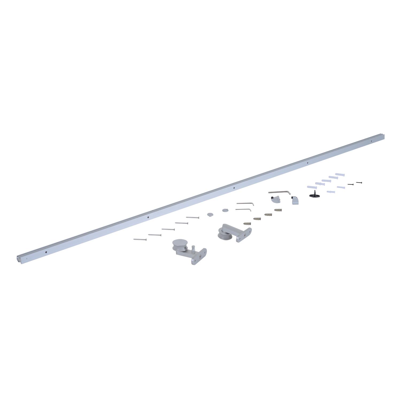 Homcom Kit Binario per Porta Scorrevole in Lega d'Alluminio, 200x3.15x2.5cm