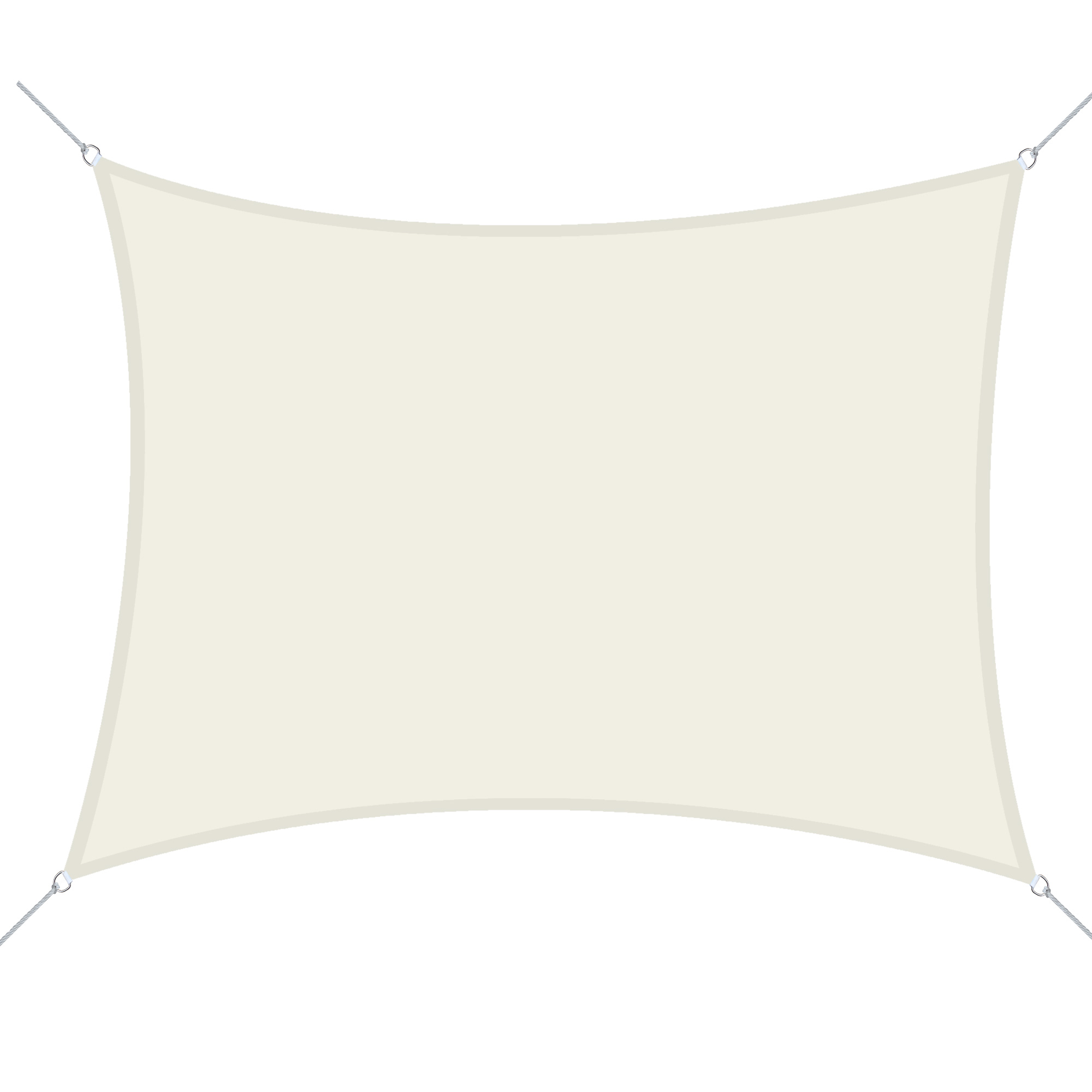 Outsunny Vela Ombreggiante Rettangolare 4x6m Tenda da Sole in Poliestere Bianco Crema