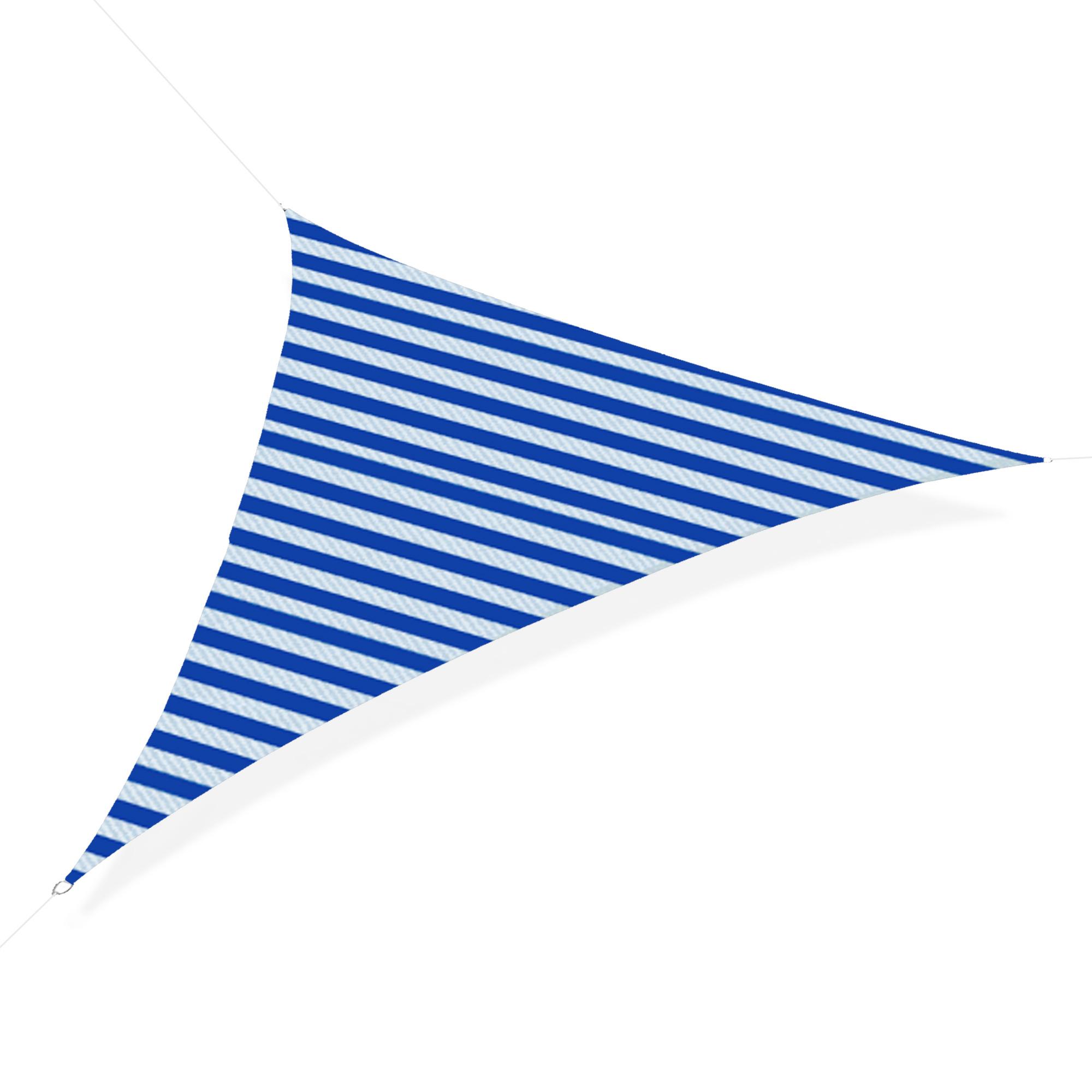 Outsunny Tenda da Sole Vela Ombreggiante Triangolare 5x5x5m Anti UV e Traspirante in HDPE, Bianca e Blu
