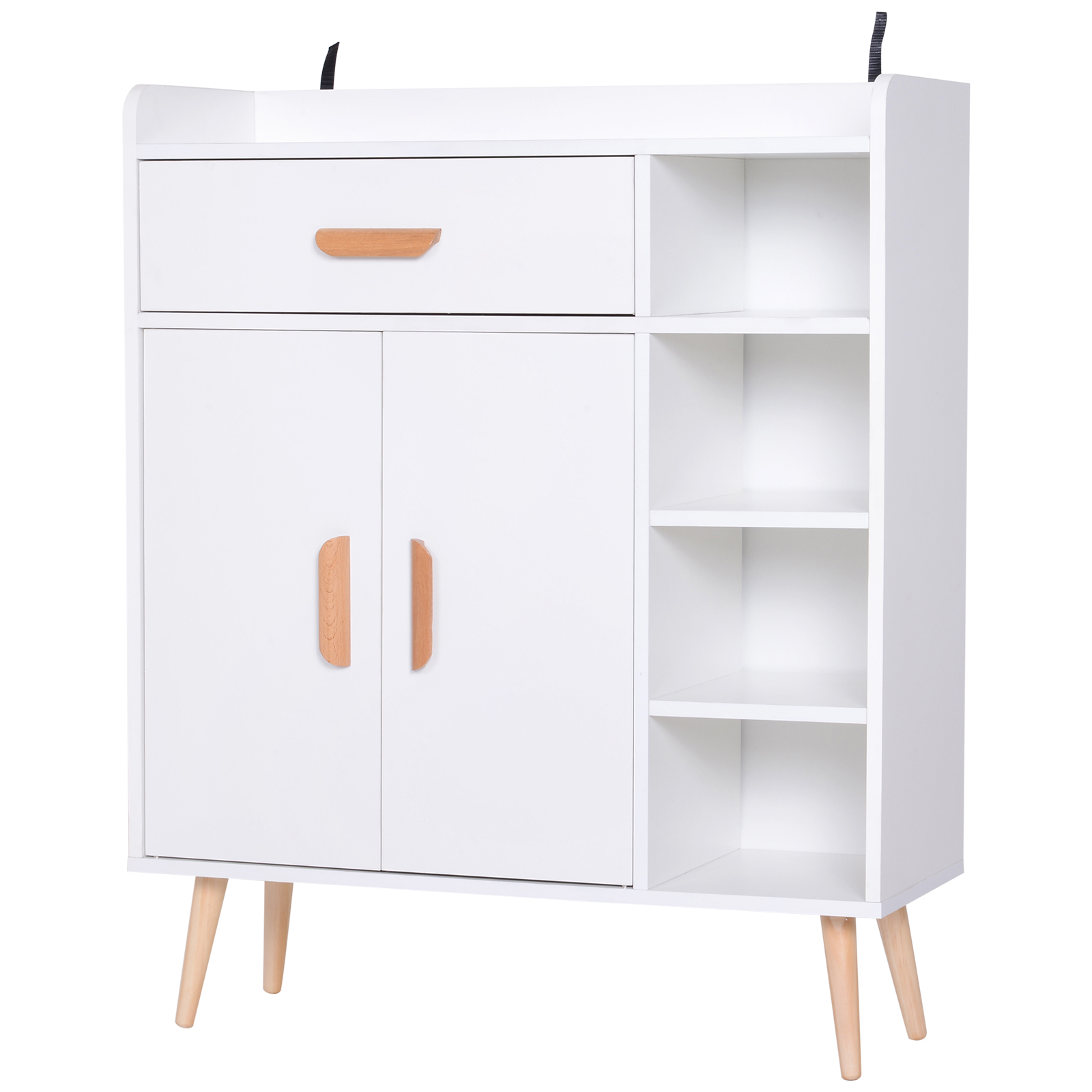 Homcom Mobiletto con Piedini in Legno di Pino Bianco 80 x 29.5 x 96cm