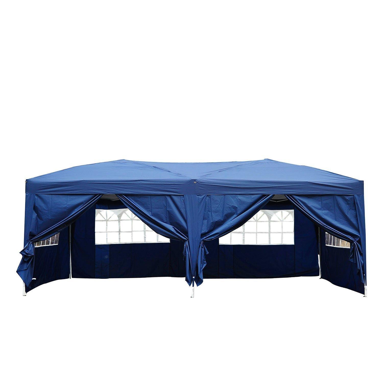 Outsunny Gazebo Pieghevole Tenda Esterno con 6 Pannelli Laterali, Blu, 6x3x2.55m