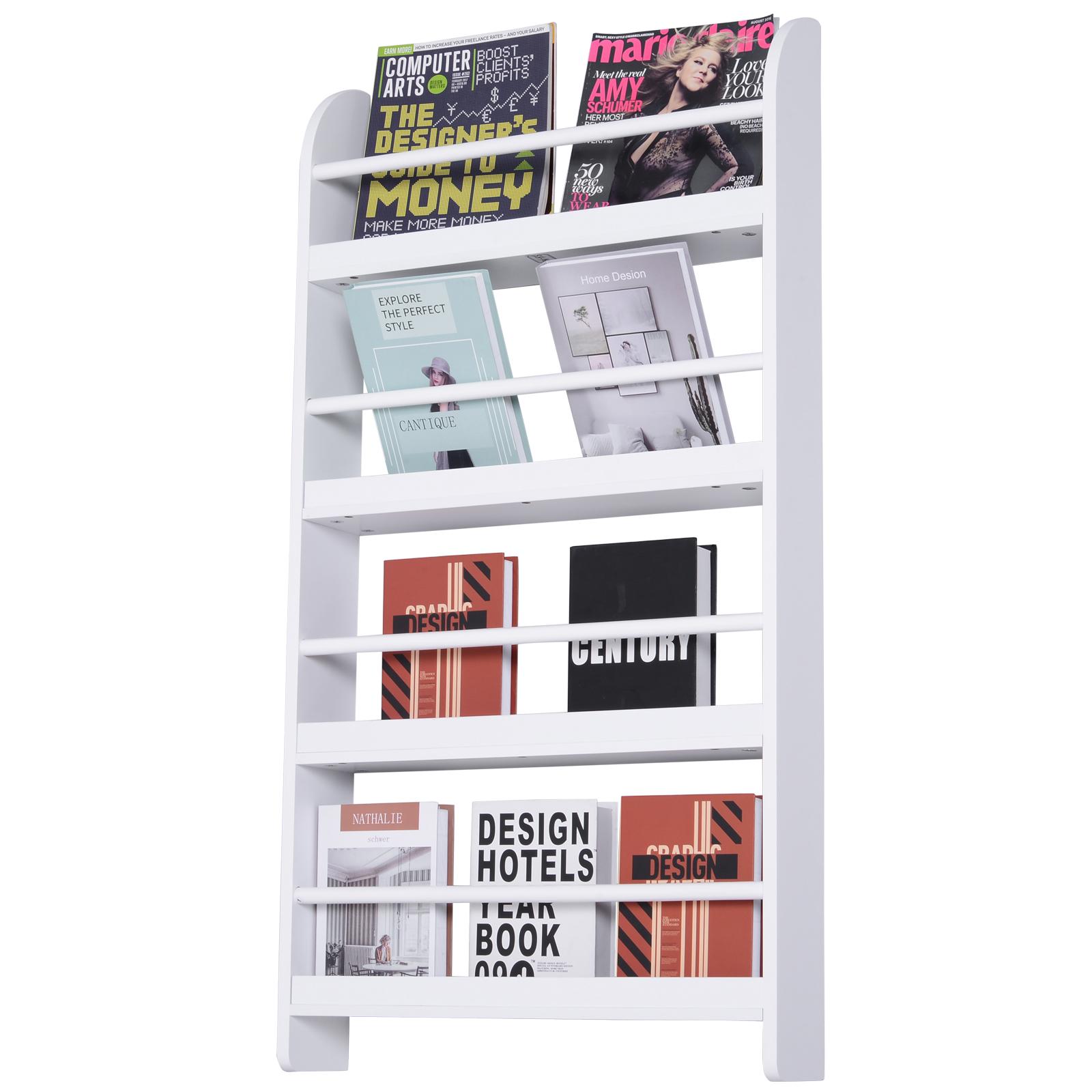 Homcom Libreria Scaffale da Parete 4 Mensole in Legno Bianco 59 x 12 x 113cm