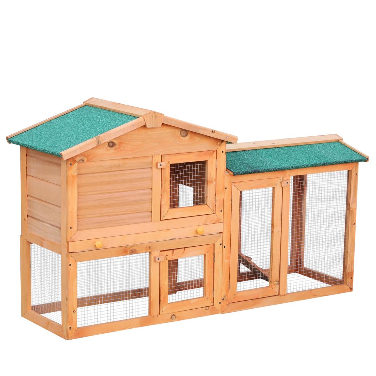 PawHut Conigliera in Legno per Animali Domestici, marrone, 145x46x85cm