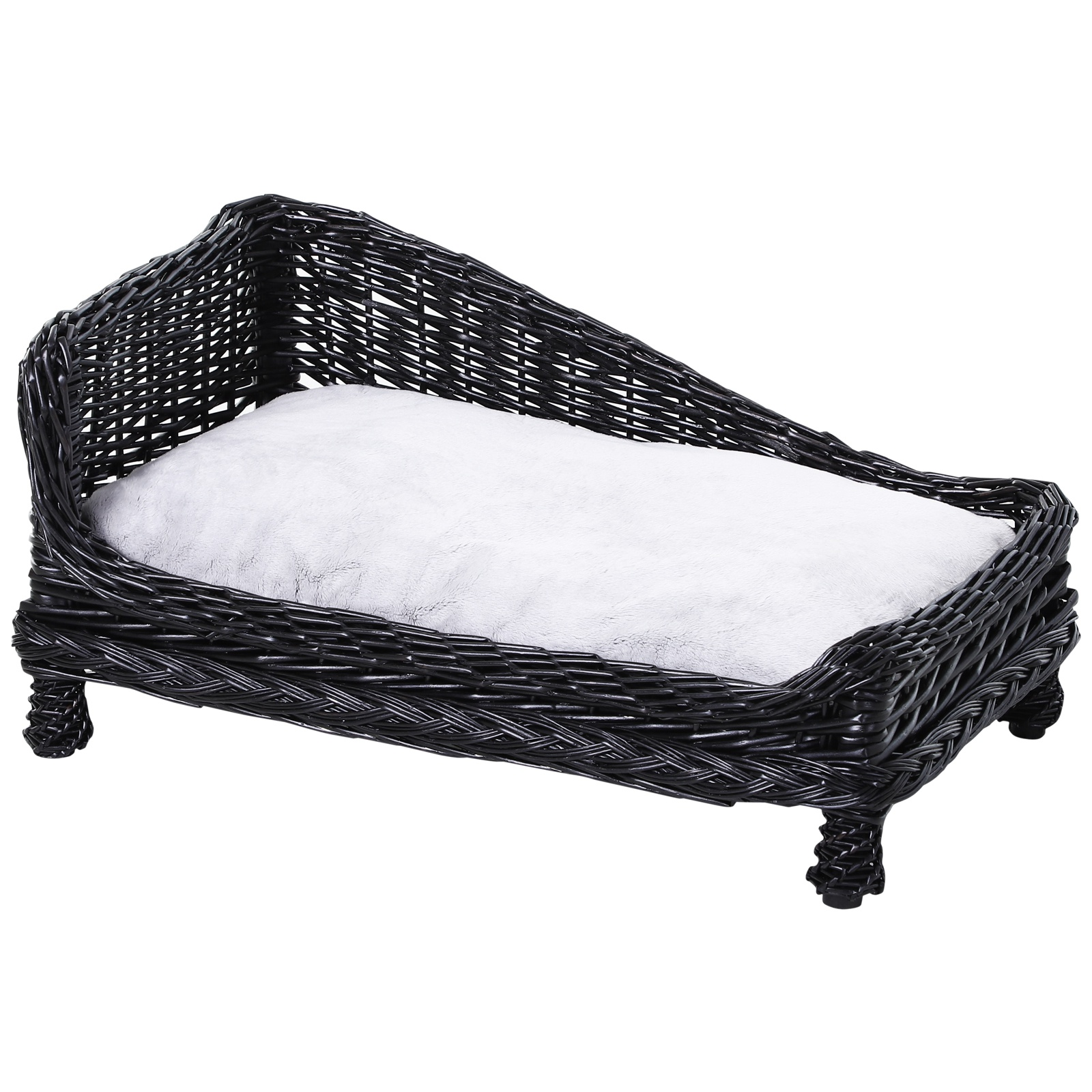 PawHut Lettino per cani Animali Domestici Chaise Longue in Vimini con Cuscino Nero
