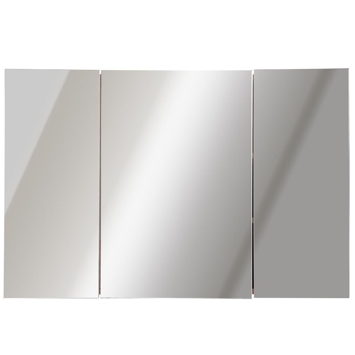 Kleankin Armadietto Pensile da Bagno 3 Ante con Specchio in Legno Rovere 90x60x13,5 cm