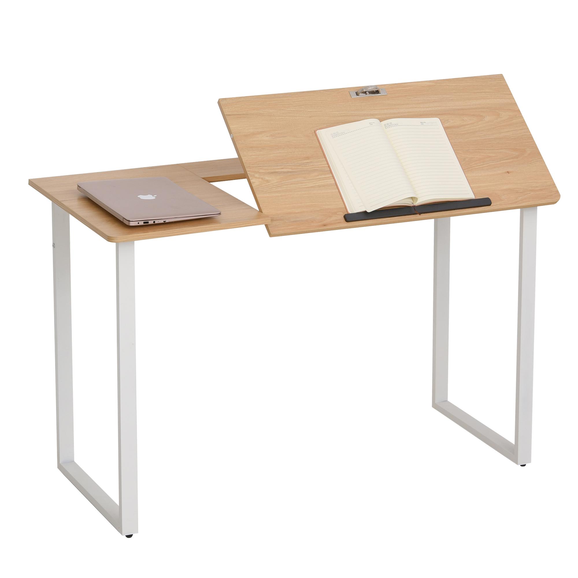 Homcom Scrivania da Disegno con Piano Inclinabile 50° in Acciaio Bianco e Legno MDF
