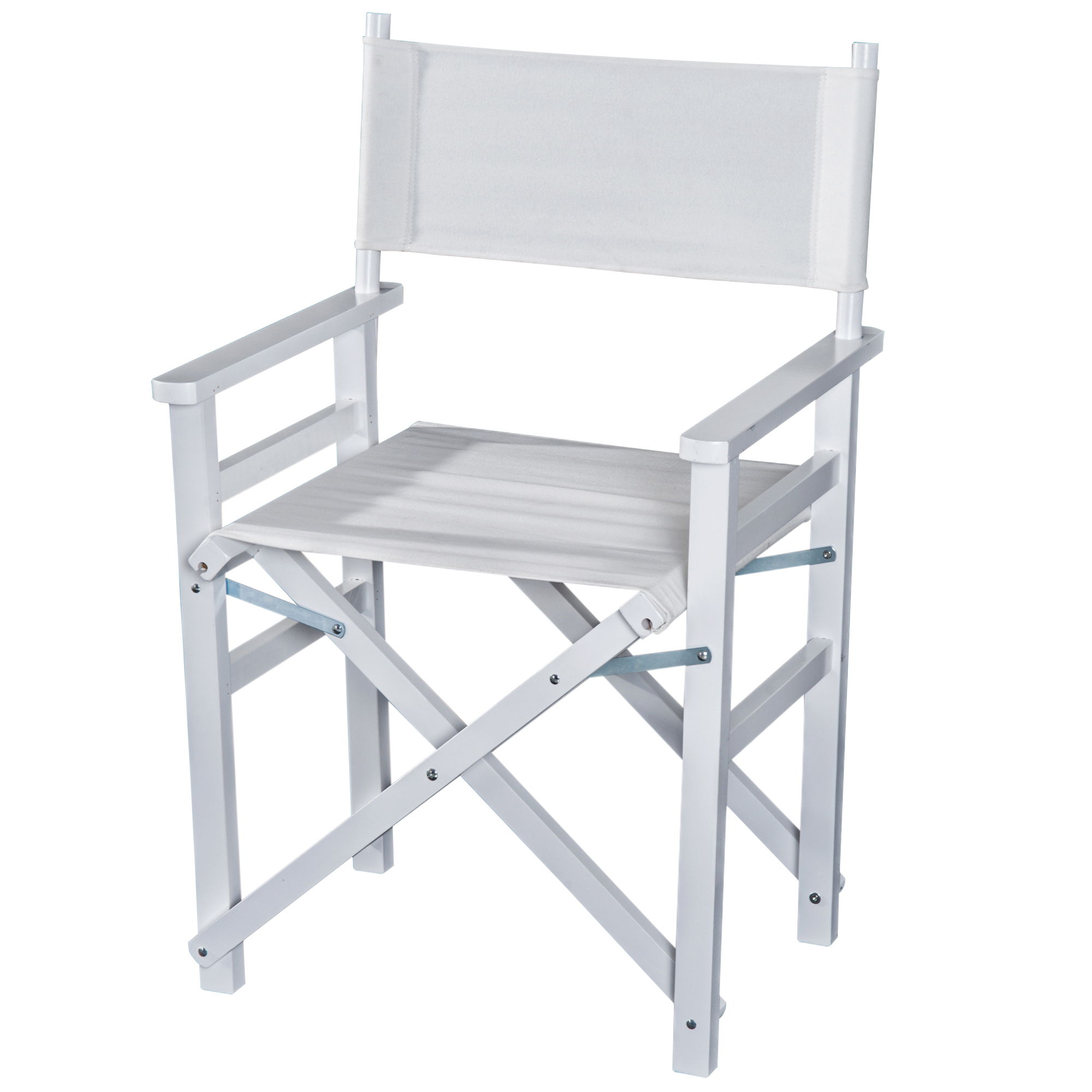 Homcom Sedia da Regista in Legno di Faggio e Seduta in Tessuto Bianco