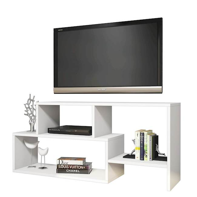 Homemania Mobile TV Clover W121,8xD30xH53,8 cm Bianco