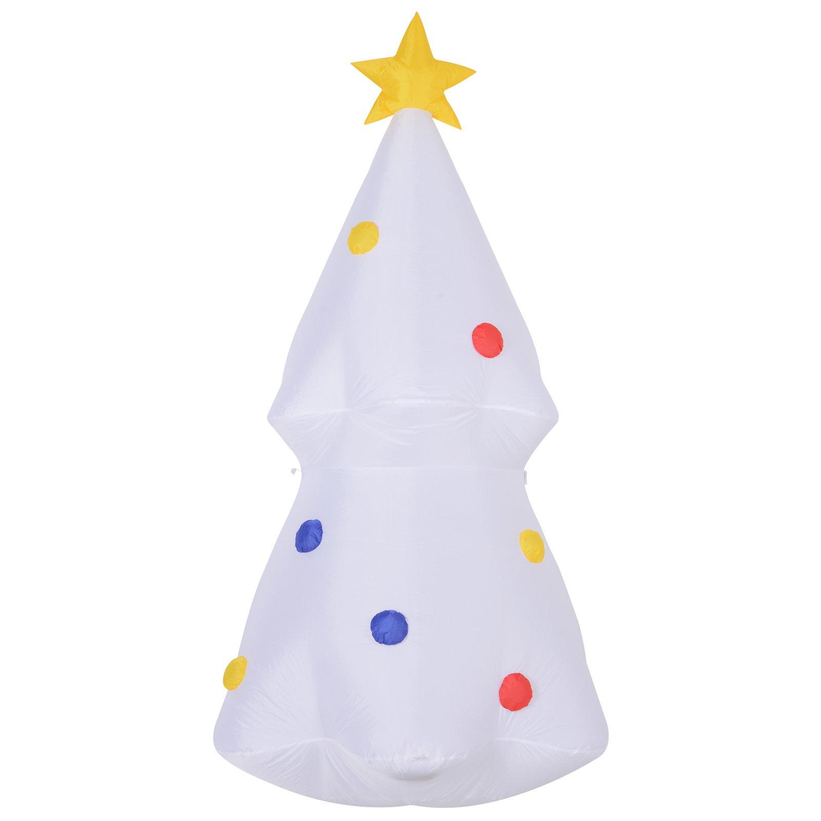 Homcom Albero di Natale Gonfiabile con Luci a Led 180 cm Bianco