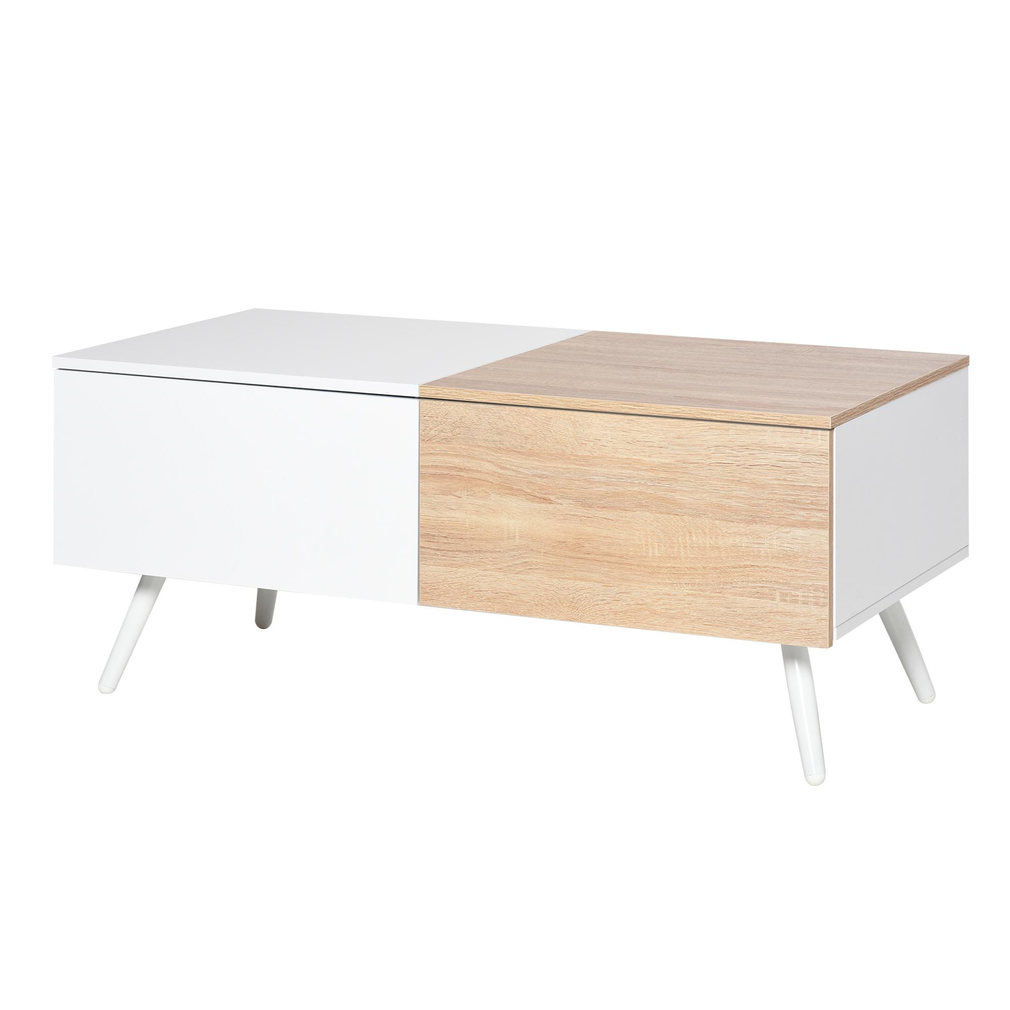 HOMCOM Tavolino da Salotto Stile Nordico con 2 Cassetti per Casa e Ufficio