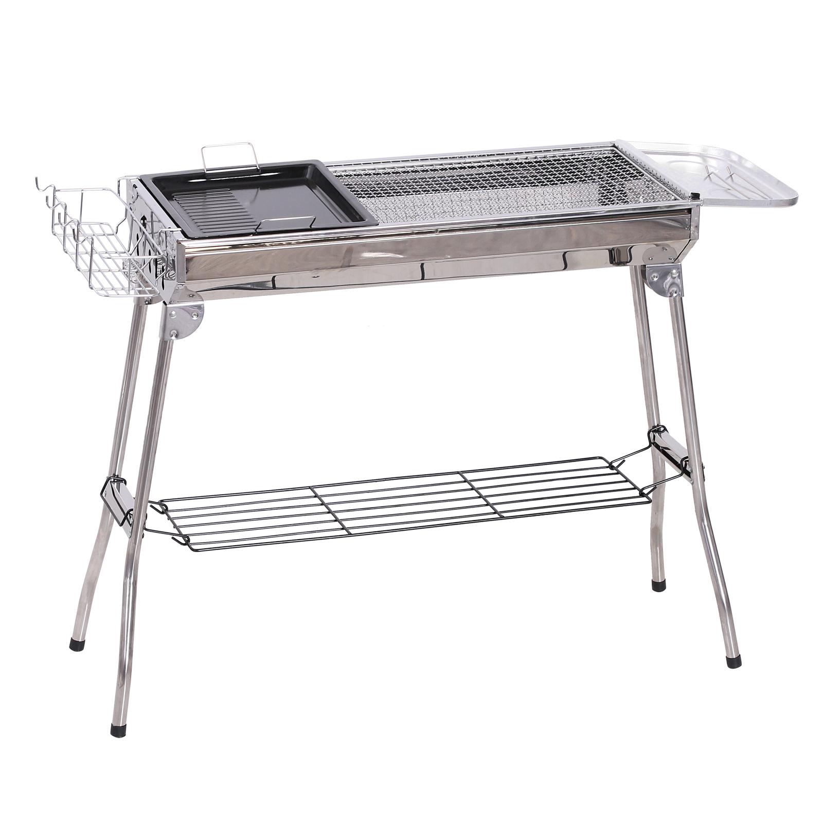 Outsunny Barbecue a Carbonella Pieghevole Portatile in Acciaio 104x33x70cm