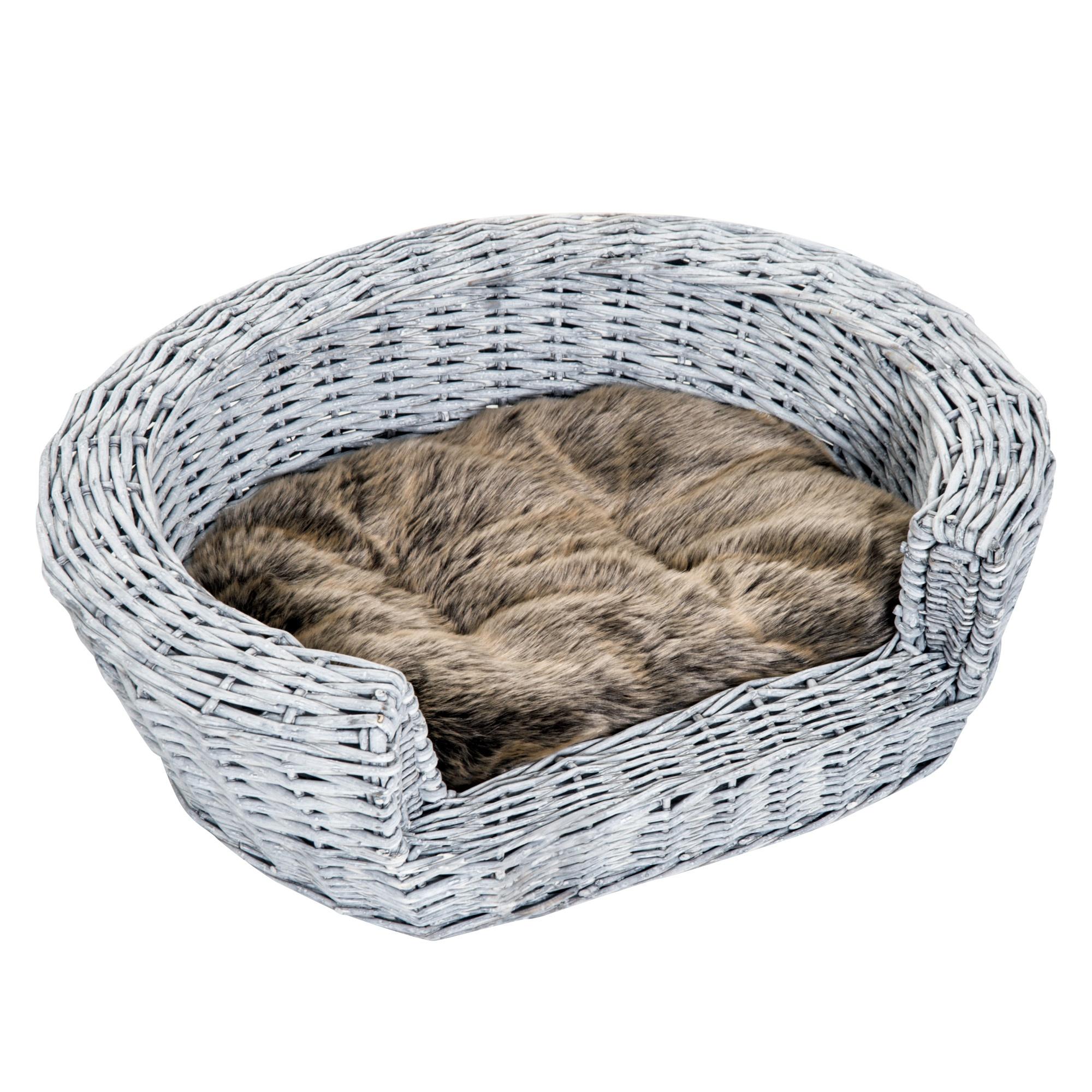 PawHut Cuccia Interno per Animali Domestici con cuscino Grigio marrone 57 × 46 × 17.5cm