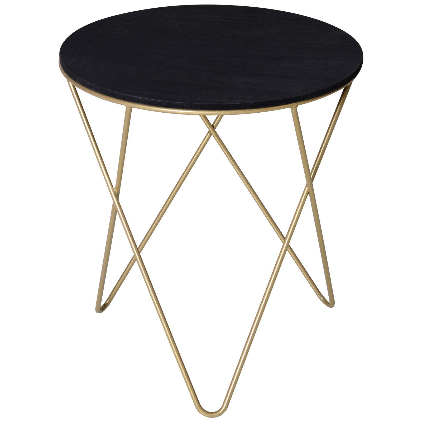 Homcom Tavolino Design Geometrico Moderno MDF e Metallo Φ43x48cm Nero e Dorato