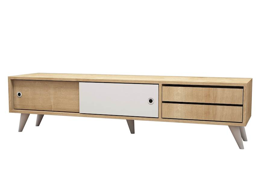 Homemania Mobile TV Eduardo W160xD40xH40 cm Rovere, Bianco