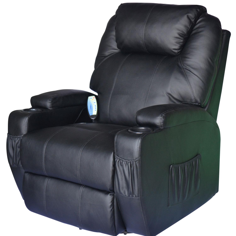 HomCom Poltrona Reclinabile Massaggiante Riscaldabile in Ecopelle, Nero